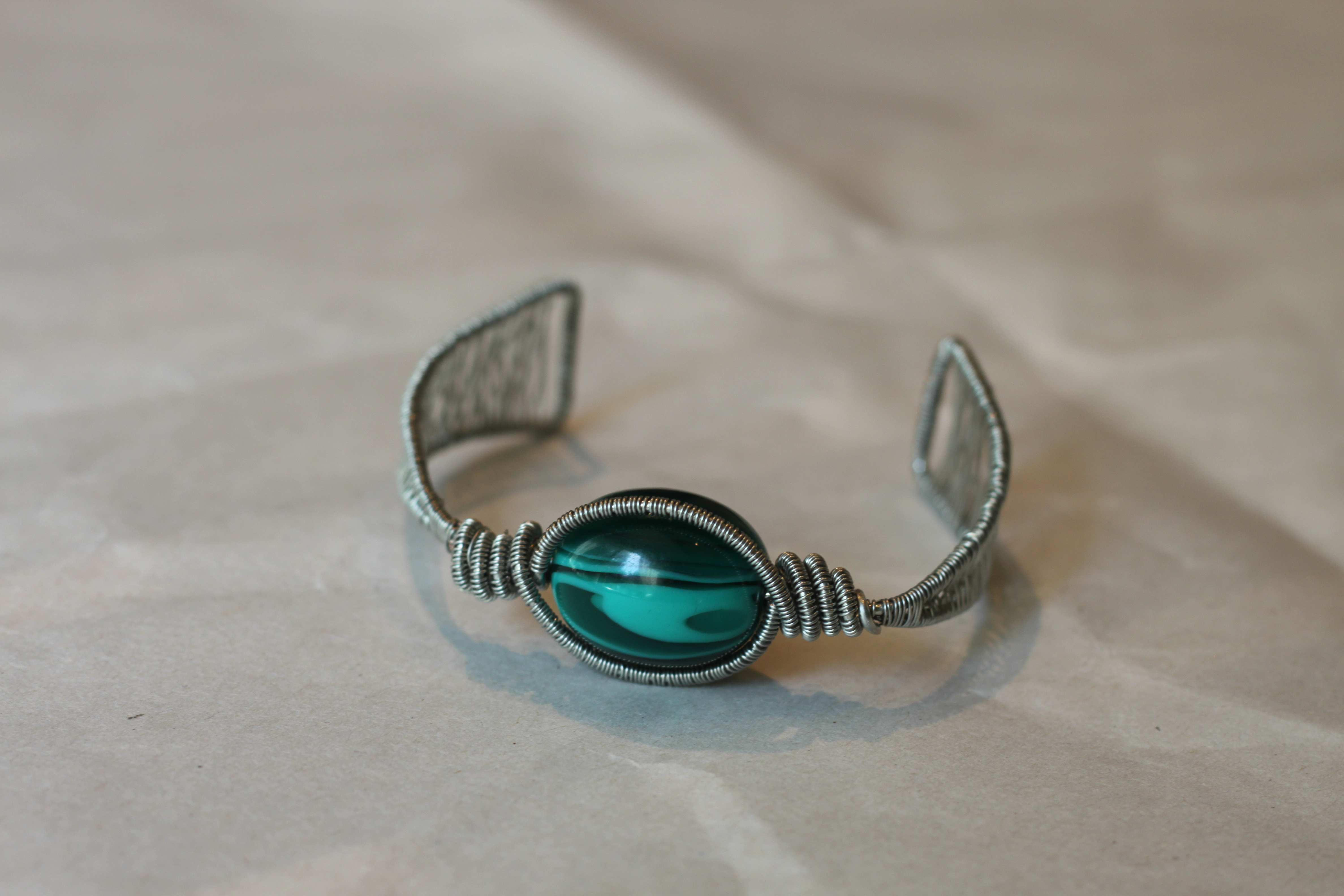 Woven coiled cuff copper bracelet