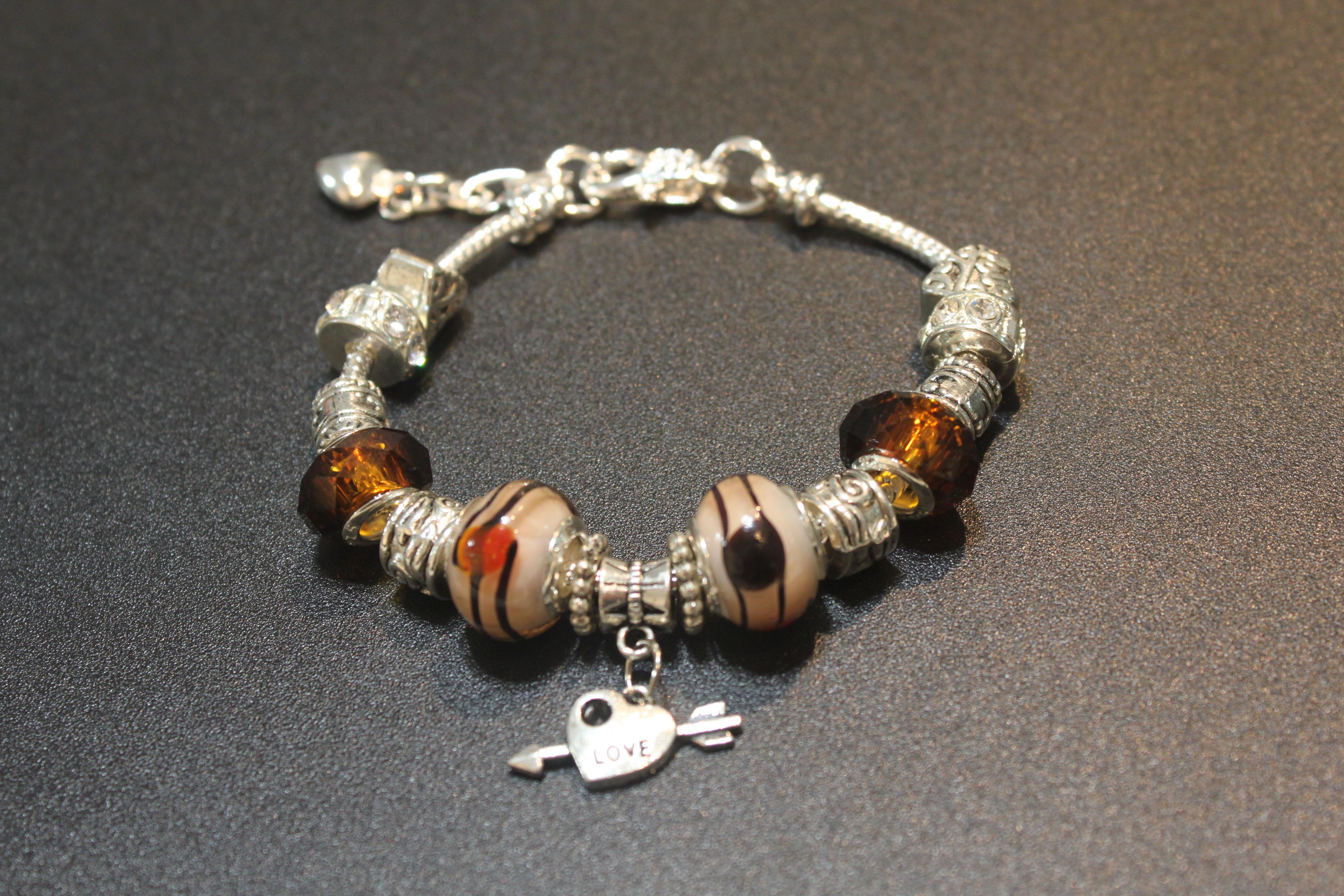 Love charm bracelet - Amber