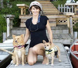 michelle and dogs at lake 2014