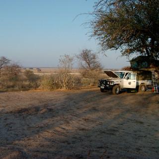 Camp at Sunday Pan, Central Kalahari