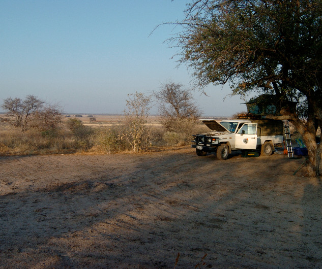 Camp at Sunday Pan, Central Kalahari