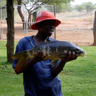 Samuel and fish he took from a crocodile