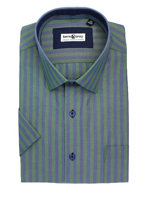 חולצה Regular fit פסים כחול ירוק