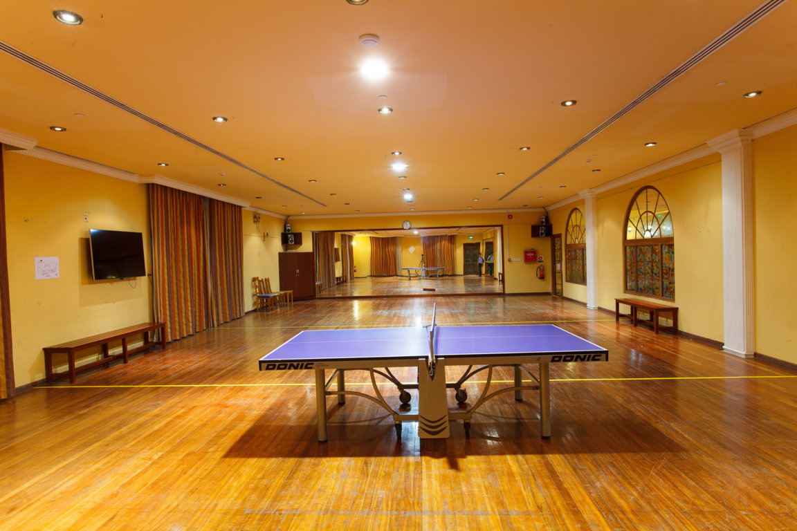 Interior photo of ping pong table at Las Dunas