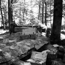 bunker, trenches with boxes everywhere--
