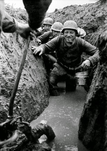 German soldiers in the flooded trenches,