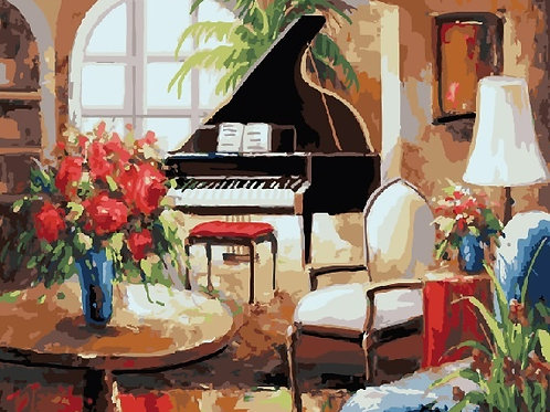 Картина по номерам 40х50 - Чёрный рояль