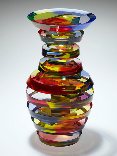"""11.5""""x6.25""""x6.25"""" 2010 Private Collection Cut and polished 1/4"""" clear plate glass laminated with red, yellow, blue, purple & fViolet dyed adhesive in the circles and yellow dye in the bars.MPLPGV #2"""