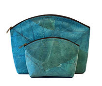 vegan slow-fashion travel set cosmetic bags handmade with leaf color turquoise