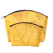 vegan slow-fashion travel set cosmetic bags handmade with leaf color mustard