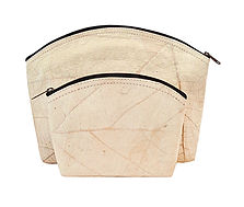 vegan slow-fashion travel set cosmetic bags handmade with leaf color beige