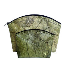 vegan slow-fashion travel set cosmetic bags handmade with leaf color green