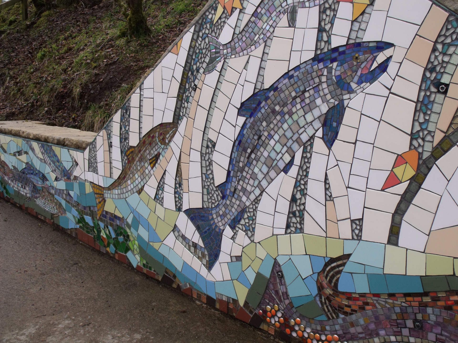 Falls of Shin Atlantic salmon interpretative Mosaic