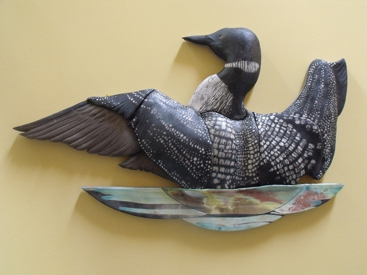 Great Northern Diver ceramic wall sculpture