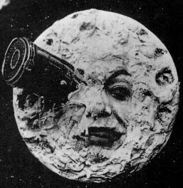 Iconic image from George Melies' A Trip to the Moon; a spaceship crashing into the eye of a disgruntled face in the moon.