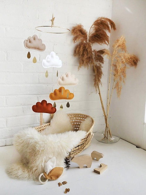 Rust, Ochre, Beige, White, Taupe Baby Mobile