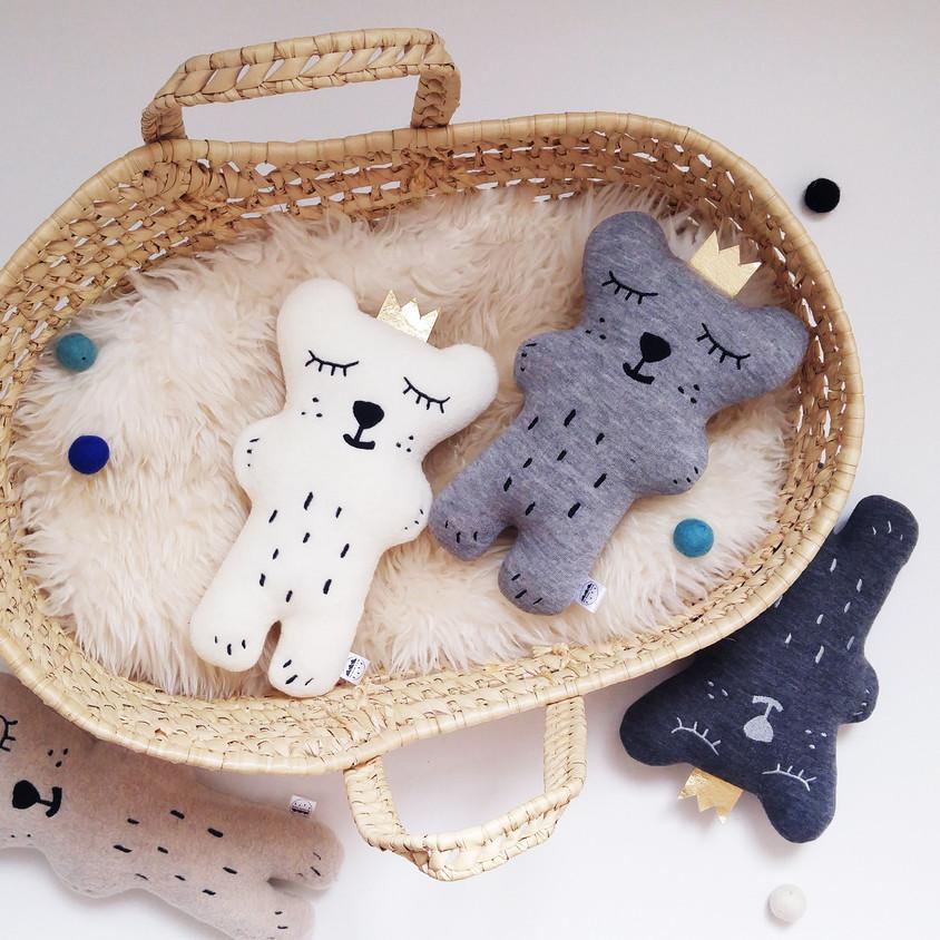 Neutral Sleepy Bear Soft Toy, Polar bear plush toy, Teddy bear, polar bear, bears, woodland animal, stuffed animal, Baby Shower gift, Plush for Babyshower, The Butter Flying