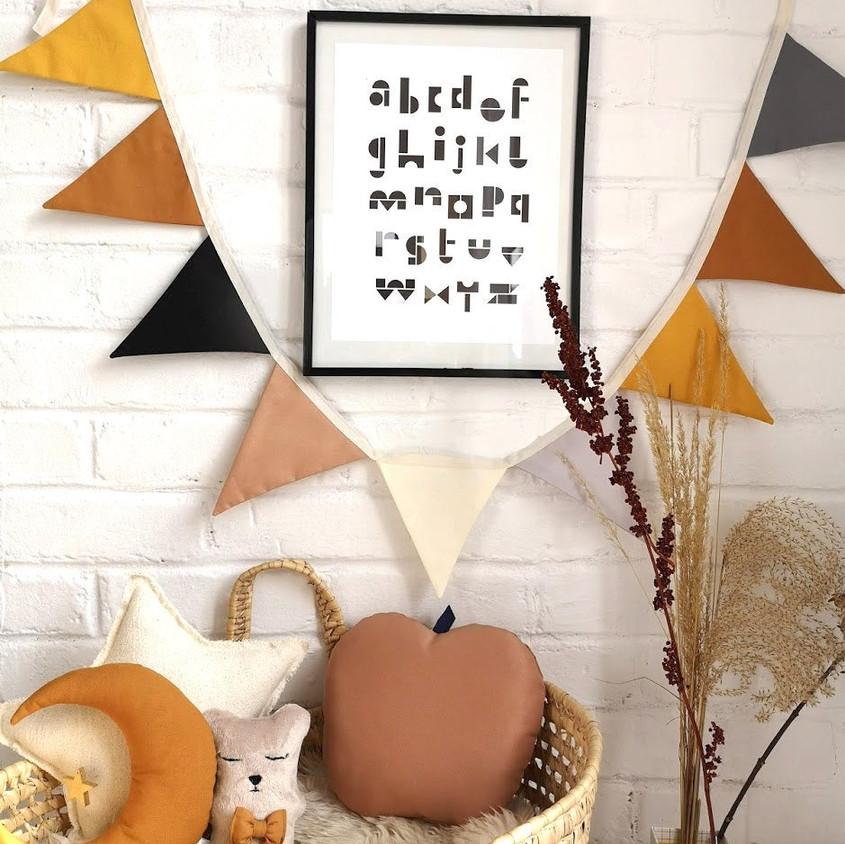 Amber Flag Bunting Garland, Neutral Fabric garland, Earth tones garland, Bunting Garland, Fabric Garland Nursery, Boho Fabric Garland, The Butter Flying