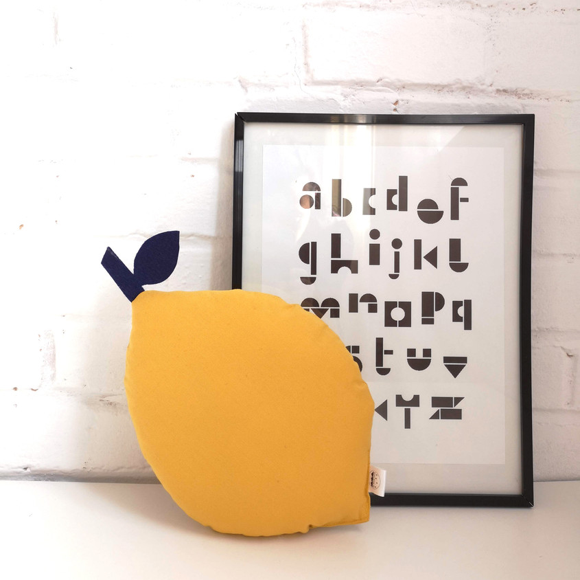Handmade yellow lemon shaped cushion, fruit citrus pillow decor for nursery and children's bedroom, new baby gift and home decor, ocre nursery decor, The Butter Flying