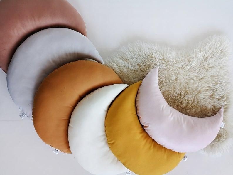 Terracotta Moon Shaped Pillow, Kidsroom Star Shaped Pillow, Nursery Decorative Pillow, Decorative Pillow,Star Cushion, Star, Nursery Decor, The Butter Flying