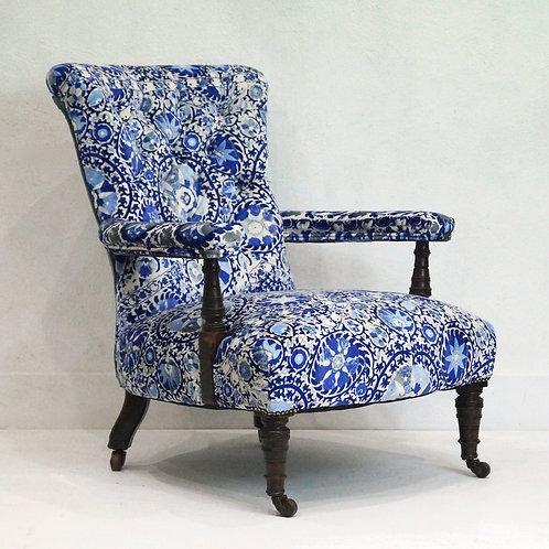 Stunning 19th Century Howard Style Library Chair - Andrew Martin Velvet
