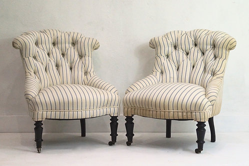 Pair of Rare 19th Century French Button Back Nursing Chairs
