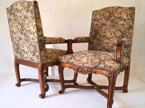 Pair of French Regency Armchairs and Footstool