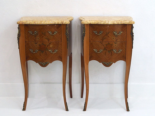 Pair of French Marquetry Bedside Tables