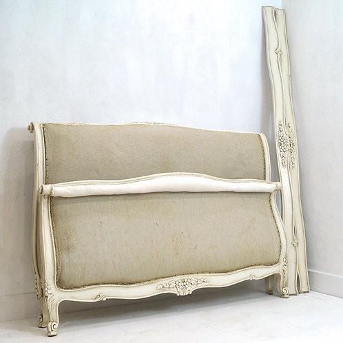 A Vintage Painted French Louis XV Scrolled Double Bed