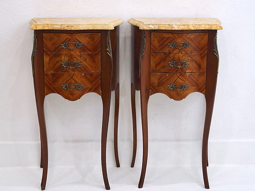 Pair of French Antique 3 Drawer Marquetry Bedside Tables