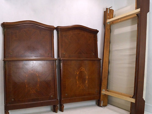 Rare Pair of French Antique Louis XVI Mahogany Single Beds