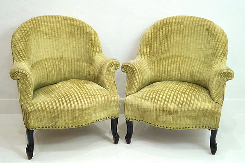 A Rare His & Hers French 19th Century Crapaud Tub Chairs