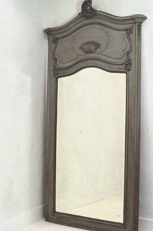 A circa 1900 French Louis XV / Rococo Painted Trumeau Mirror