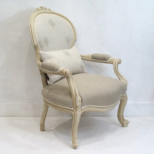 French Antique Louis XV Fauteuil Armchair upholstered in Peony & Sage Linen