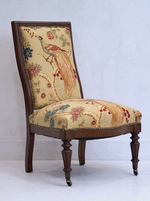 19th Century French Louis XVI Chair in GP Baker 'Paradise Birds' Fabric