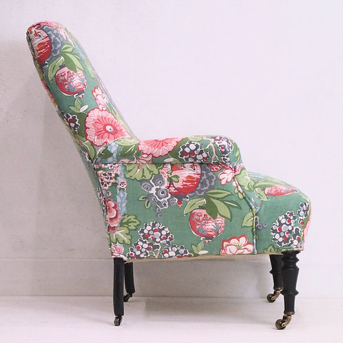 A French 19th Century Napoleon III Armchair - Linwood Belleville Louis Linen