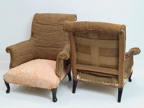A Rare Pair of French 19th Century Scroll Backed Armchairs