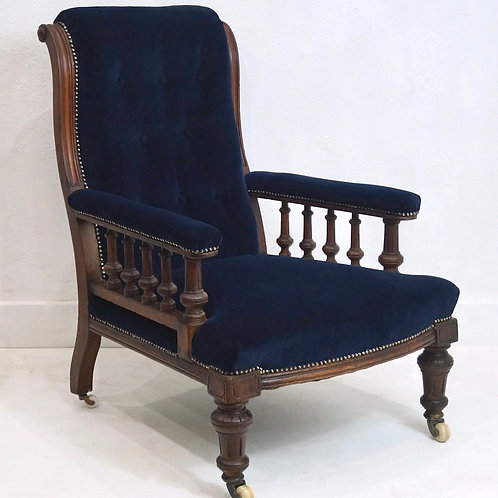 An Antique English Victorian Upholstered Library Chair - circa 1870