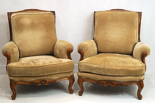 A Rare Pair of mid 20th Century French Louis XV Armchairs