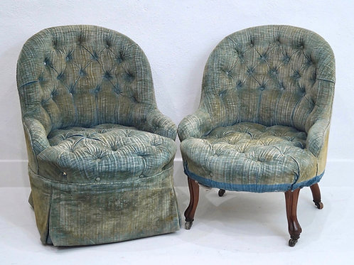 A Rare Pair of French 19th Century Buttoned Nursing Chairs