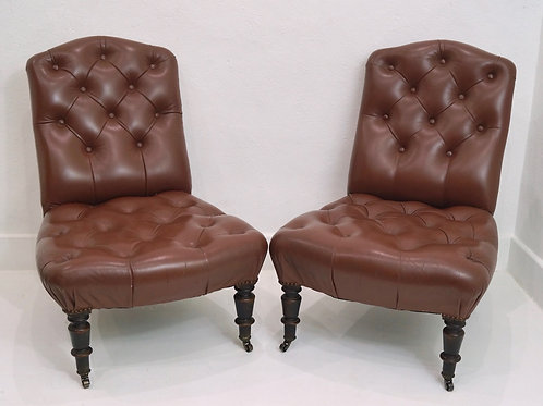 A Rare Pair of Antique French Slipper Chairs