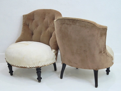 A Rare Pair of French 19th Century Buttoned Bedroom Chairs