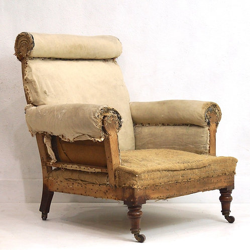 Early 20th Century English Edwardian Roll Top Armchair