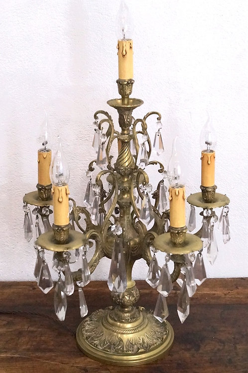 A late 19th C French Bronze 6 Light Girandole Lamp