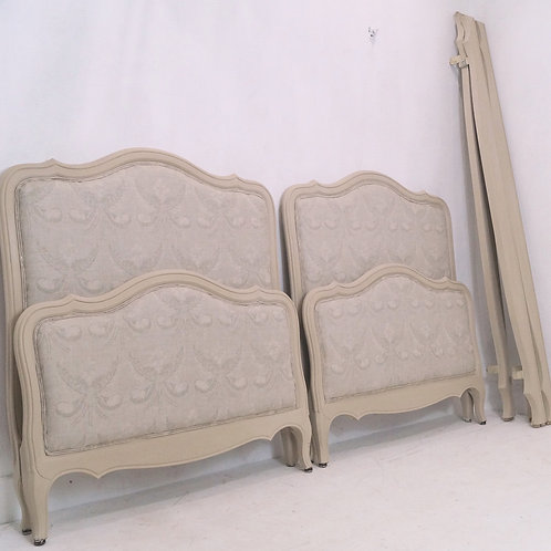 Rare Pair of French Antique Single Beds in KATE FORMAN 'Josephine Stone' Linen