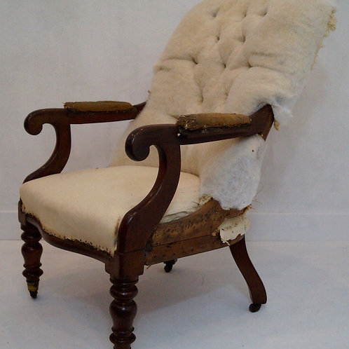 Antique 19th Century Buttoned Back Armchair