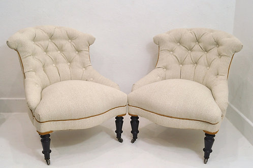 A Pair of Antique French Upholstered Nursing Chairs