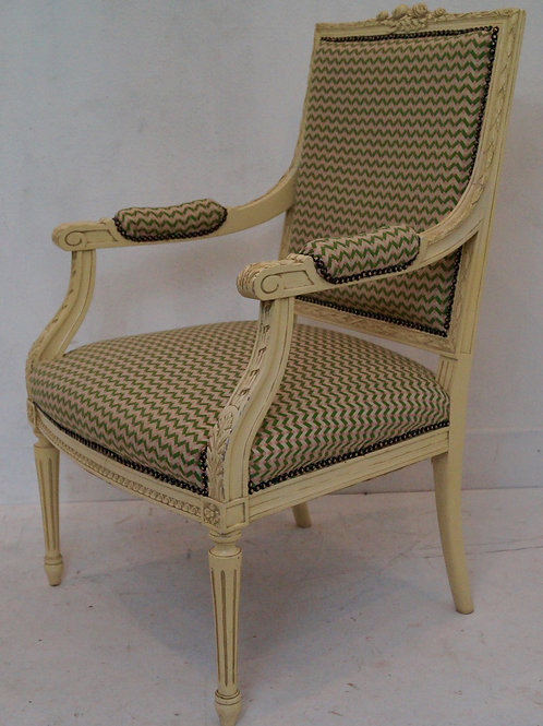 Vintage French Louis XVI Armchair / Bedroom Chair - Linwood 'Bolero' Fabric