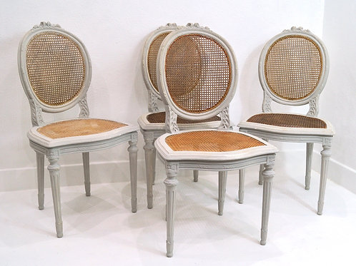 Vintage French Louis XVI Painted Dining Chairs