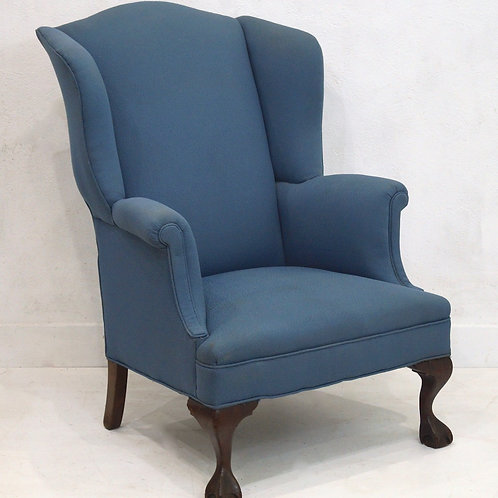 An Antique Queen Anne Style Wingback Armchair